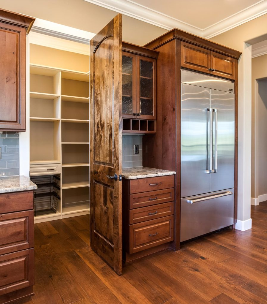 Custom shelving in pantry