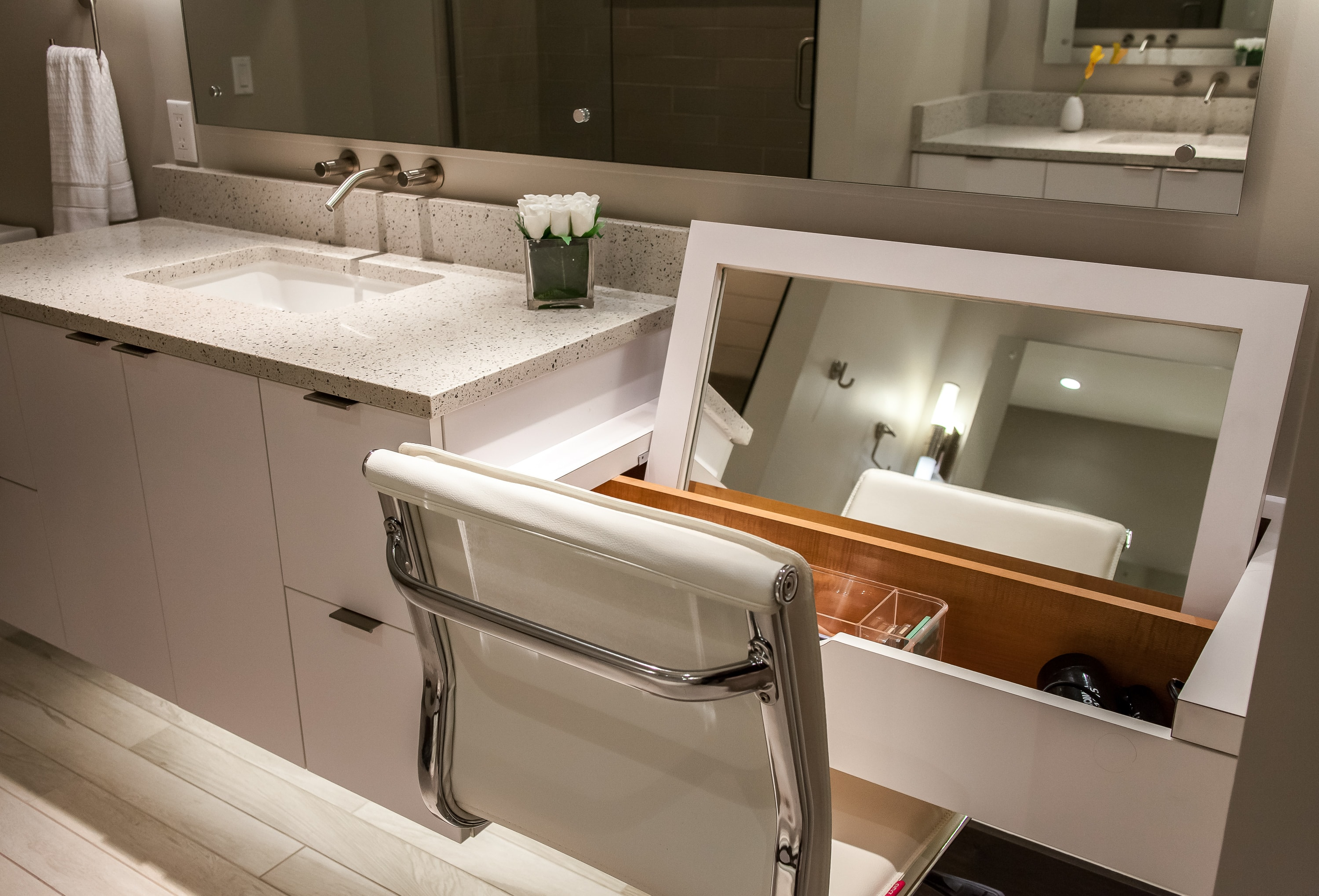 custom makeup vanity in this master bathroom remodel in denver