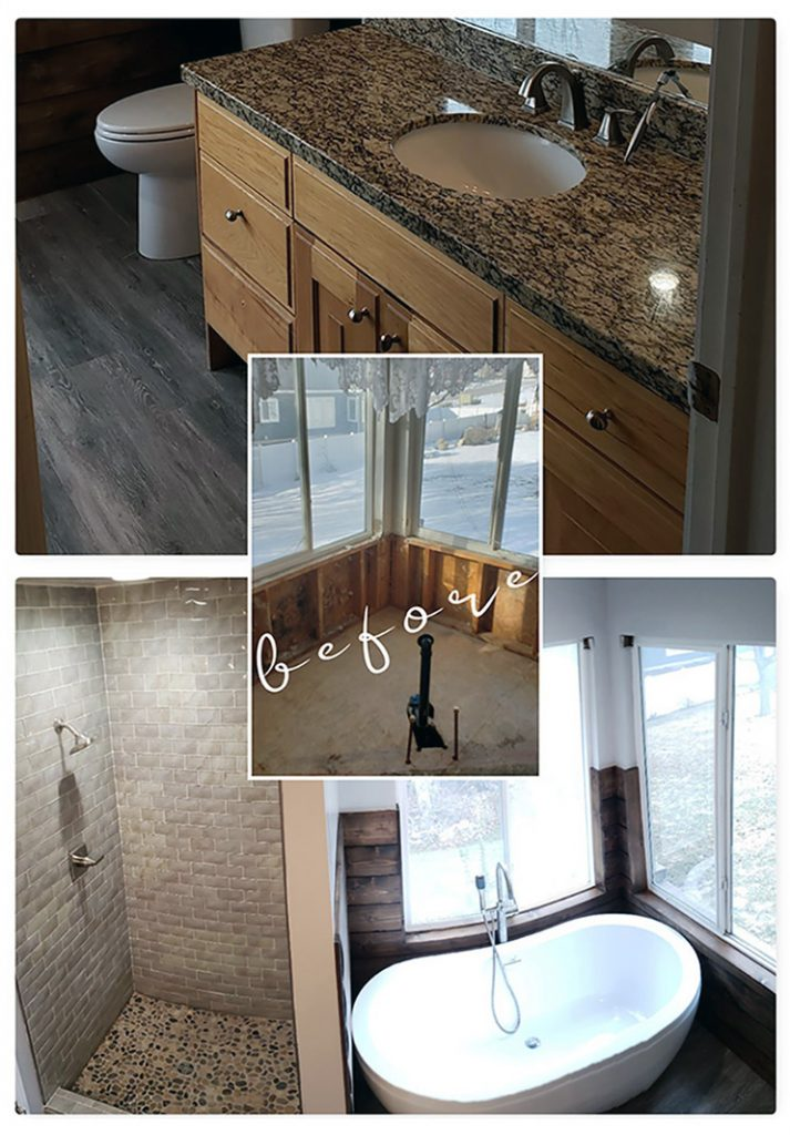 Warm Brown traditional walk In shower with pebbled floor – soaking tub with shiplap surround
