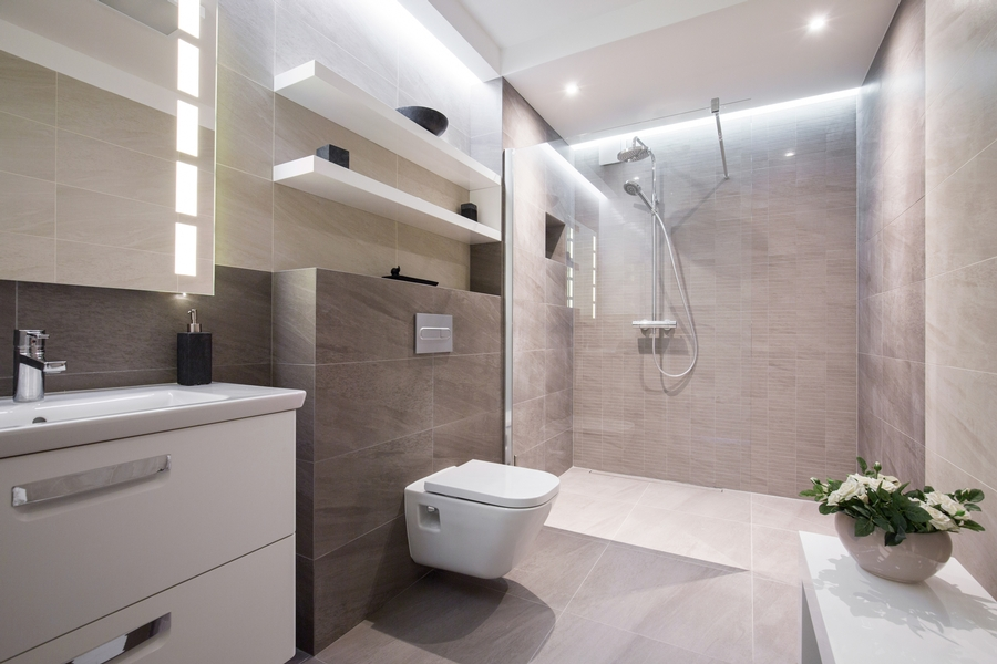 open shelving in this contemporary masterbath curbless shower