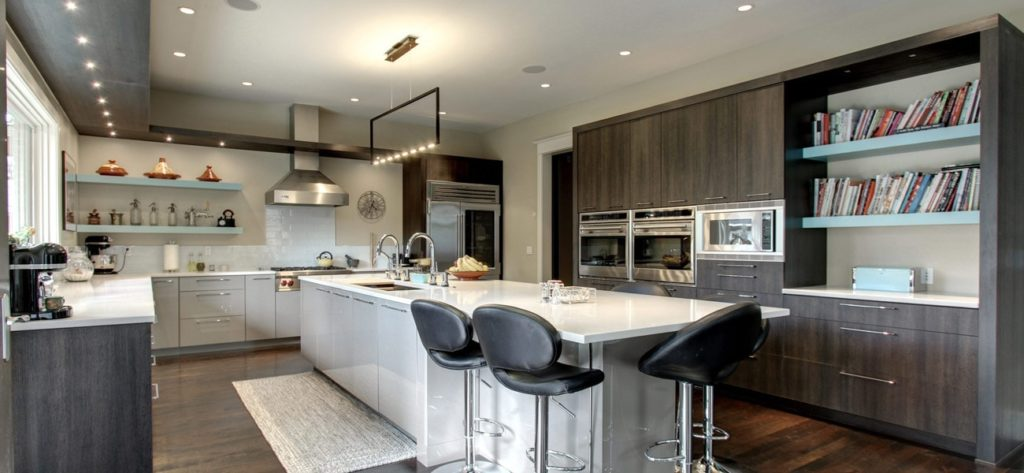 Open shelving in this Contemporary Kitchen with Sleek Grey Cabinets