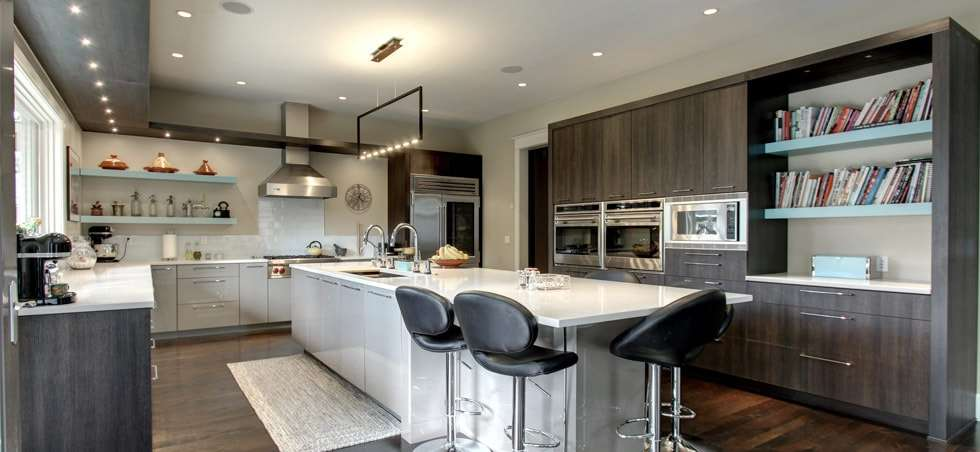 Contemporary Kitchen with Sleek Grey Cabinets