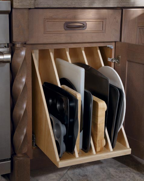 Cookie sheet storage in kitchen cabinet