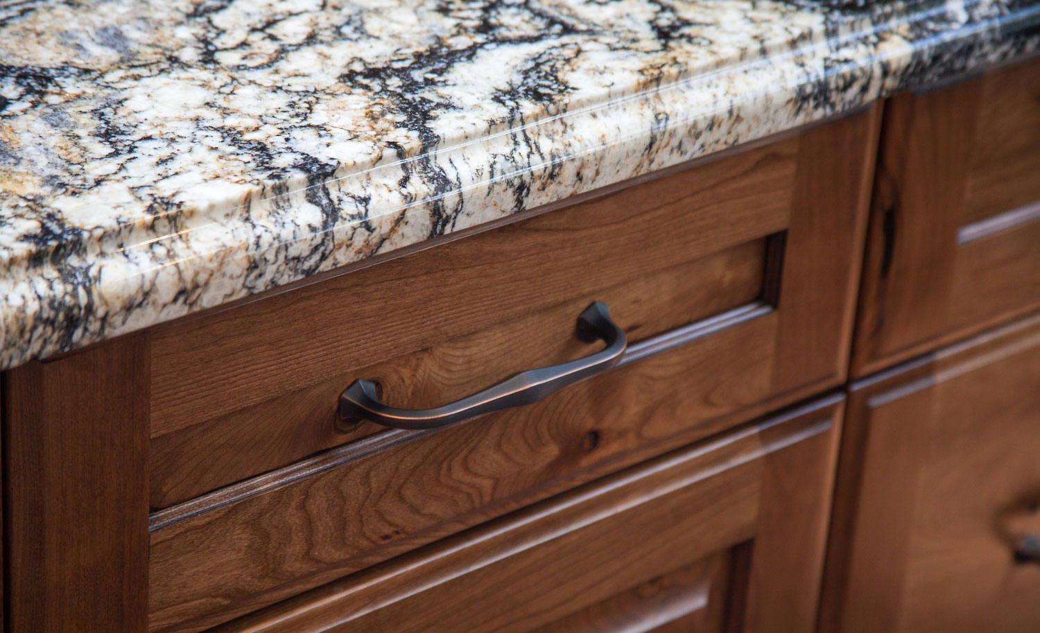 Aged Bronze Hardware on this cabinet