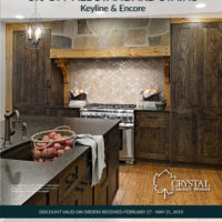 Crystal Cabinet promotion on stained cabinets. Custom Cabinetry in Denver and Castle Rock. Beautiful stained wood kitchen with wolf appliances