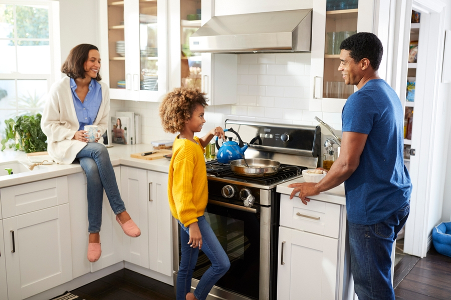 families cooking together in the kitchen