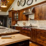 Dark natural wood cabinets with rustic lighting features