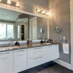 Master bath with lighted vanity