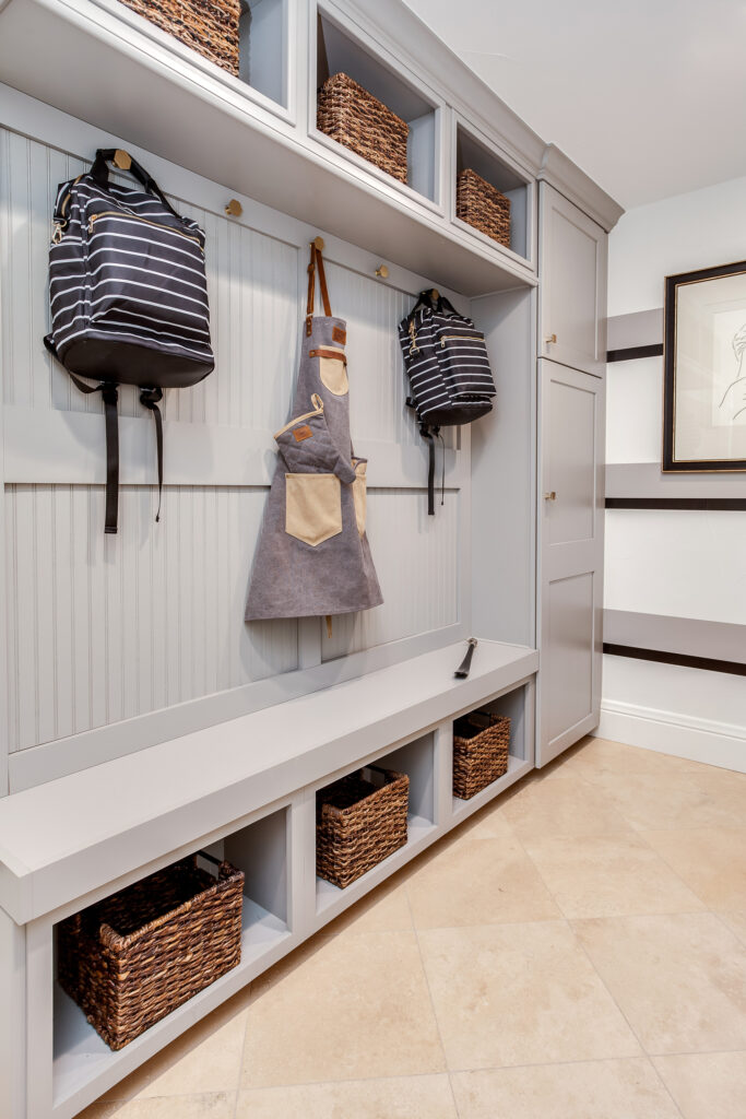 mud room storage area in laundry room