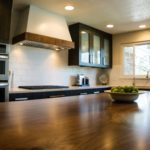 Large wood countertop island in dark wood kitchen