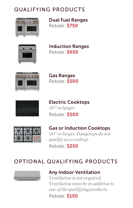 Qualifying Wolf ranges for the 2019 rebate at JM Kitchen & Bath