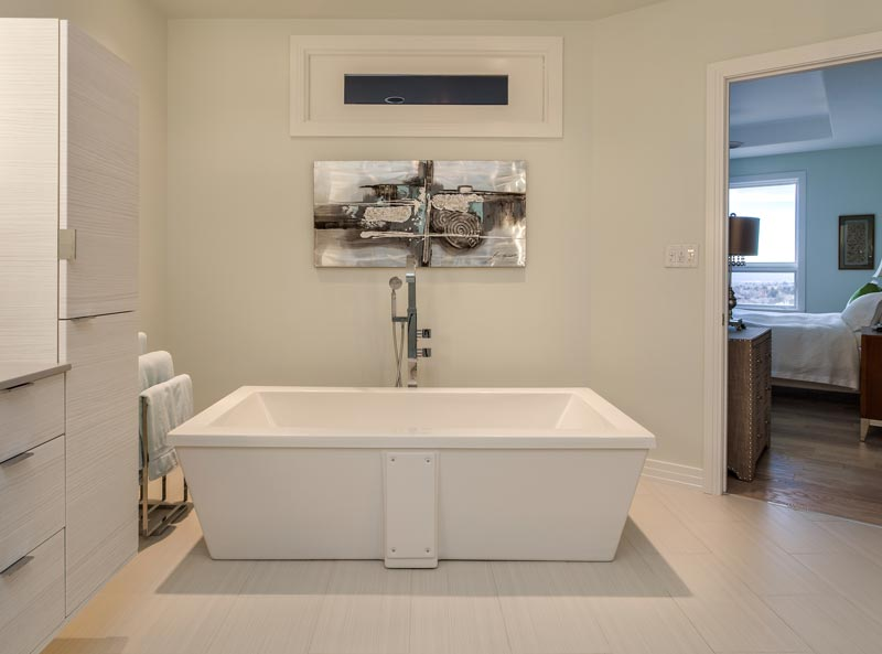 spectacular free standing soaking tub with unique stainless fixtures