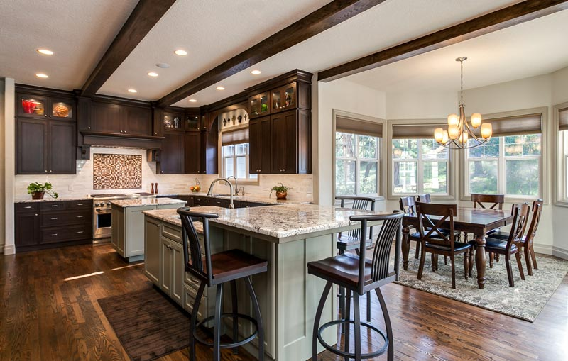 Great room denver kitchen remodel double sinks butlers pantry