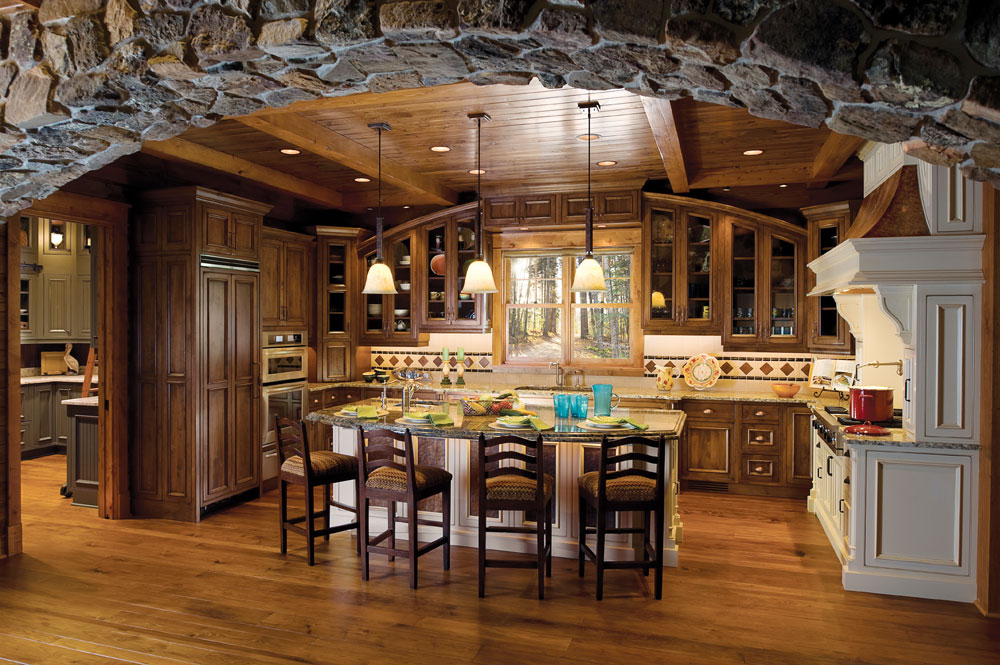 Amazing Kitchen inside a stone Archway.