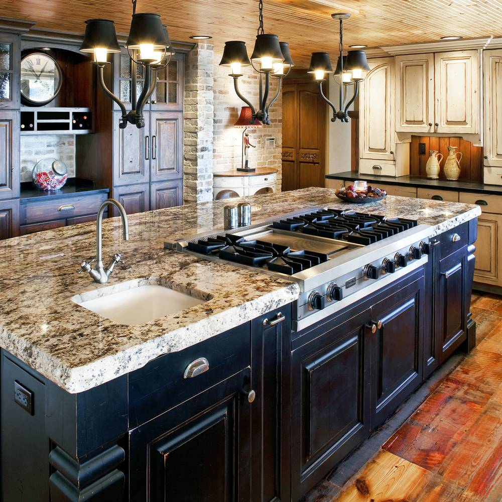 Colorado Rustic Design with black and white distressed painted wood, center island stove and sink.