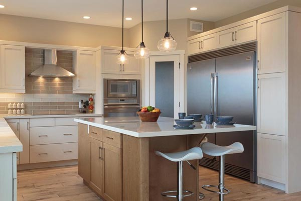 White Kitchen with Maple island